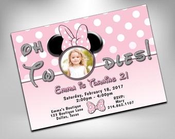 Minnie Mouse Birthday Invitation, 2nd birthday, Two-dles Minnie Mouse Invitation, Second Birthday Invite, Minnie Mouse, Custom Photo Invite