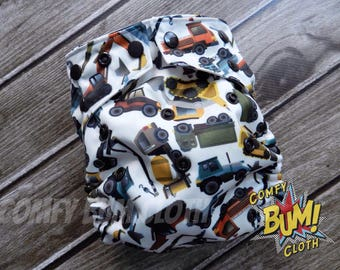 Construction Vehicle OS Cloth Diaper Cover