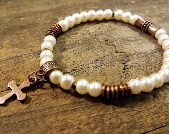 Pearl Bracelet, Stretch Bracelet, Boho Bracelet, Beaded Bracelet