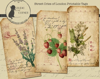 Printable Cries of London Tags, Vintage Tags, Editable Tags, PDF Tags, Gift Tags, Instant Download