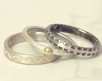 Ring in sterling silver with gold // Combination rings, set, silver, gold / stacking rings