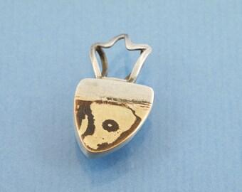 Crown Mokumé Gane pendant // 750 Gold 18ct Shakudo 925 sterling silver // for necklaces