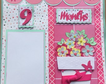 "Two Baby Girl 12"" x 12"" scrapbook pages for your baby girl's 9 month pictures"