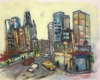 "City Street, Chicago 18 X 24"" Original Painting - FREE SHIPPING"
