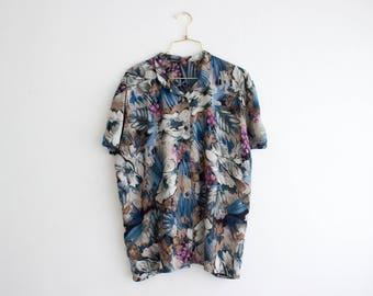 90s Floral Blouse, Oversized Boho Shirt, Vintage Button Up Blouse, Loose Fit Top Size Medium Large