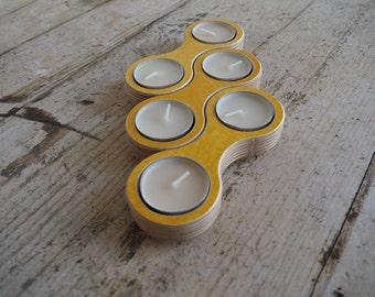 Wooden Tea Light Candle Holder Ochre - Candle Holder Wood - Modular Candle Holder Centerpiece -Tea light Candle Holder Plywood Birch