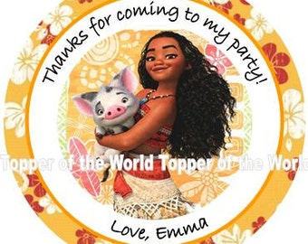 12 Personalized Moana Princess New Disney Birthday Party Favor Thank You Tags or Stickers You Choose Thanks