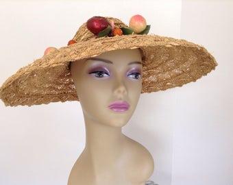 Vintage 40s Wide brim hat derby hat ladies sun hat Straw hat women Pasadena hats 1940s straw hat 40s hat 40s sun hat excellent condition
