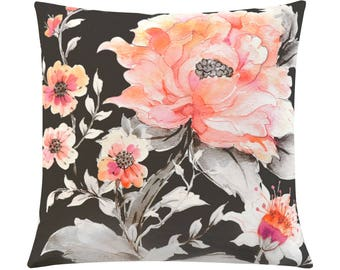 Pink Peony pillow case, Watercolour Floral Decorative Cushion Cover, Hand Made in Canada, Black and Pink Pillow cover, Unique Floral Design