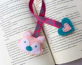 Pink fox bookmark | Felt bookmark | Handmade bookmark | Book lover | Made in Québec