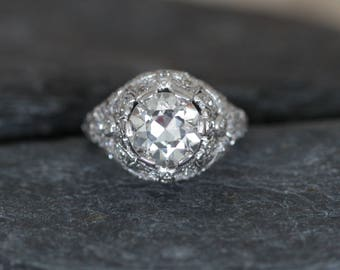 Stunning Edwardian Engagement Ring with 3.21 ct Total Weight 2.71 ct Old European Cut Diamond GIA - DK96
