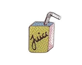 Pastel Juice Box Enamel Lapel Pin - cute kawaii drink