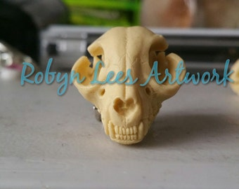 3D Resin Cat Kitten Skull Brooch. Gothic Victorian Costume, Steampunk Anatomy, Anatomical, Animals, Pets, Nature