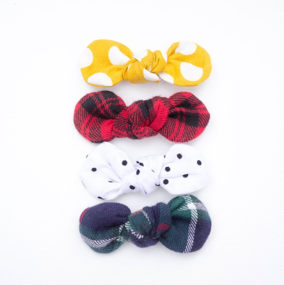 The  HOPEFEATHERS Holiday Collection//  Simple Bow on Nylon Elastic Infant and Toddlers Girls Headband or Baby Hair Clip