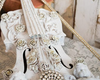 Violin art decor~handpainted violin Art~Rhinestone embellished Violin and Bow~shabby chic instrument decor~Vintage cherub~Redesigns by V