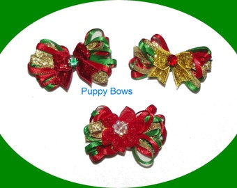Holiday pet hair bows