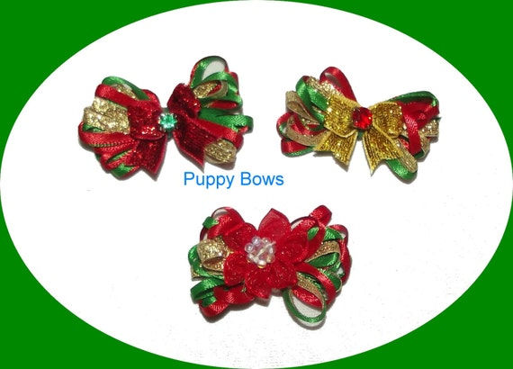 Puppy Bows ~ wild loop CHRISTMAS red green gold  dog pet hair bow - USA made and sold