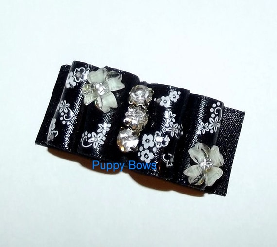 Puppy Bows ~ Brushstrokes Dog show bow  Shih Tzu BLACK painted floral rhinestone center ~USA seller