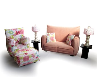Barbie Doll Living Room Furniture 9-PC Play Set-1:6 scale-Light Pink Flower print - works also with Blythe and any 11 inch fashion doll