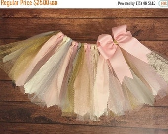 Pale Pink, Ivory, Gold, Silver, and Grey Scrap Fabric Tutu