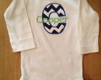 Royal Blue and White Chevron Initial Shirt or Baby Bodysuit With Lime Green Name Embroidery