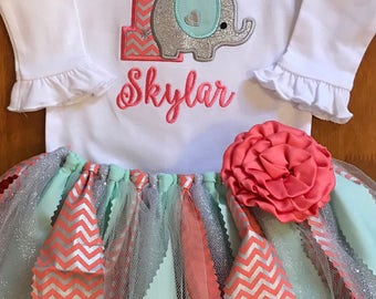 Coral, Mint, and Silver Elephant Birthday Scrap Fabric Tutu Outfit