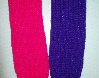 Small/Medium Girls' Knit Leg Warmers. PURPLE SPARKLE, PINK Sparkle