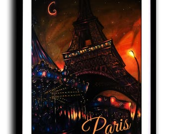 Paris print, Art Print, Vibrant, painting,Carnival, Moonlight, Wall Art, Home decor, Fine Art print A3