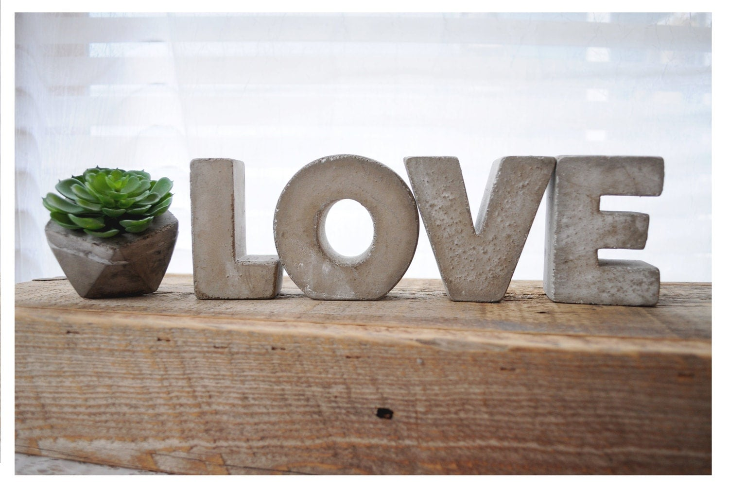 3 concrete letters love sign full word free standing