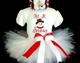 Let It Snow Tutu, Snowman Tutu, Christmas Tutu, Holiday Tutu, Tutu Outfit, Holiday Tutu Set, Christmas Tutu Set