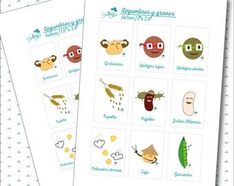 Adhesivos organizadores para la comida con Ilustraciones