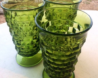 Vintage Green Indiana Glass Geometric Tall Tumblers Set of 3