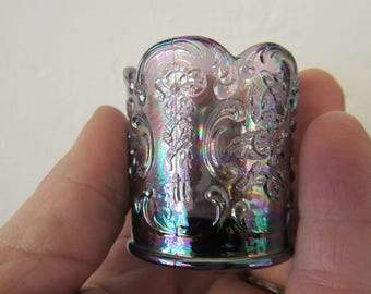 Purple Iridescent Carnival Glass Toothpick Holder