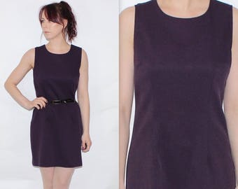 Vintage 1990's Dark Purple Plain SLEEVLESS Simple SHORT SHIFT Dress Size 10