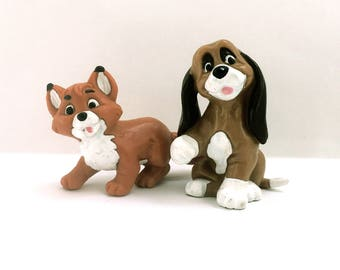 2 x 80s Disney The Fox and the Hound Tod and Copper Vintage Toy Bully Figurines