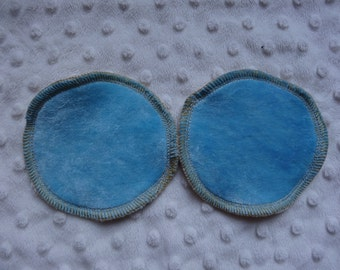 Washable Breast Pads - Blue bamboo velour - regular or large size - washable and reusable - bamboo pads