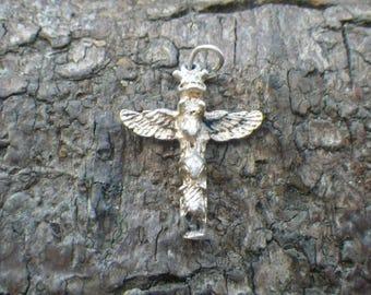 Sterling Silver Totem Pole Charm Pendant