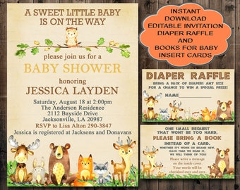 Woodland Baby Shower Invitation, Editable Invitation, Books for Baby card and Diaper Raffle card, You edit invitation, instant download 010