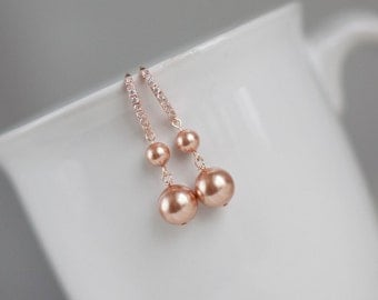 Rose gold wedding jewelry pink bridal earrings rose gold pearl bridal earrings bridesmaid earrings bridesmaid gift pink pearl bridal jewelry