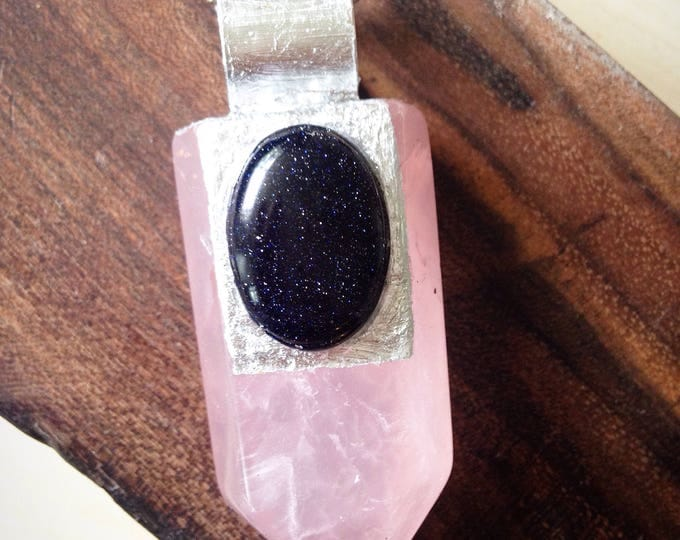 Rose Quartz Wand with Blue Goldstone and Silver Leaf Necklace, Rose Quartz Jewelry, Blue Goldstone Jewelry
