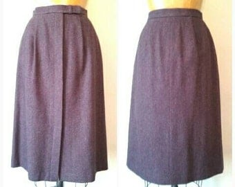 Vintage 1980s Ellen Tracy Purple Wool Skirt,Purple Wool Winter Skirt,Button Front Skirt,Straight Skirt,Purple Fleck,Purple Wool Skirt,Small
