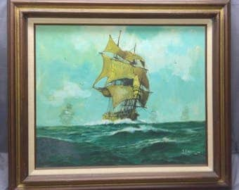 Oil Painting Vintage Artist Signed Clipper Ship Sail Boat Sailboat Nautical Art