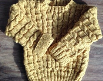 Hand knitted boys cable knit jumper 12/18 months