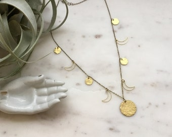 Moon Phase Brass Necklace