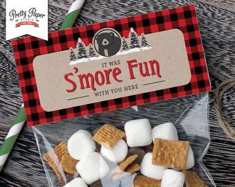 Treat Bag Toppers - Baby Black Bear Lumberjack // INSTANT DOWNLOAD // Lumberjack Birthday // Buffalo Plaid // Favor Bags // Printable BP09