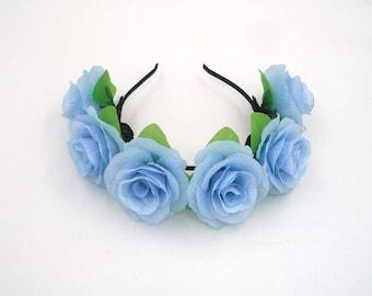 Sky Blue Flower Crown,Blue Rose Headband,Blue Flower Headband,Blue Rose Crown,Girls,Women Adult Headpiece,Festival,Wedding Hair Accessaries