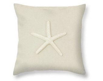 Starfish Throw Pillow, Nautical Pillow, Starfish Photography Pillow, Nature, Spa Decor, Pastel, Tan, Pink, Purple, Cream, White -NO. 2024T