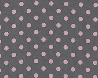 Sale Michael Miller, Dumb Dot,  Polka Dot Gray and Pink Dots 1 Yard