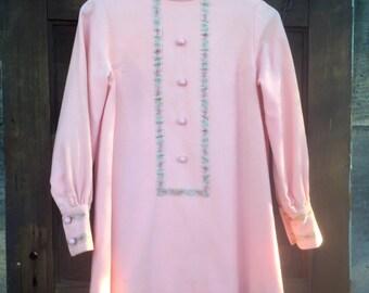 Vintage 60's Mod Powder Pink Long Sleeve Wool Mini Dress size Medium OOAK
