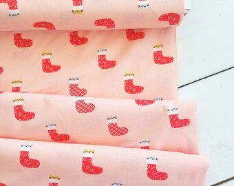 Christmas Darlings - Kittens in Stockings (Peach background) - Paula & Waffle - Dear Stella Designs
